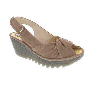Fly London Yata Leather Slingback Wedge Sandals